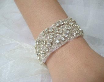 Bridal beaded crystal woven bracelet.  Rhinestone wedding ribbon bracelet. Classic Braid