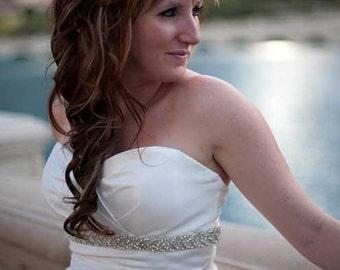 Bridal Silver or Gold beaded crystal sash.  Braided, woven rhinestone wedding belt.  CLASSIC BRAID