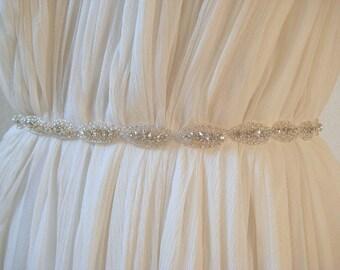 Bridal Oval Slim Crystal Sash.  Beaded Rhinestone Ribbon Wedding Belt.  Thin Bridesmaid/ Bridal Party Sash. Wedding Dress Sash. CLAIRE