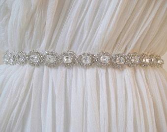 Bridal luxury  Czechoslovakia crystal sash.  Beaded rhinestone flower wedding belt. TESS.