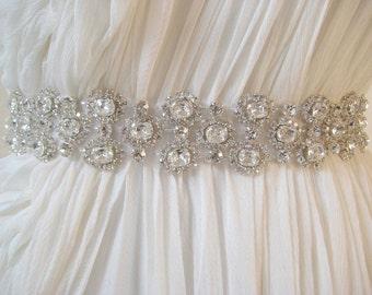 Bridal wedding luxury beaded Czechoslovakia crystal wedding sash/belt.  CHANTILLY CRYSTAL.