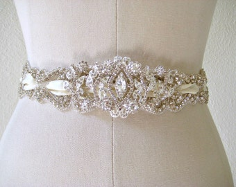 Bridal Jewel Crystal Sash.   Beaded Rhinestone Scroll Laced Ribbon Wedding Belt.  ROMANTICIZM.