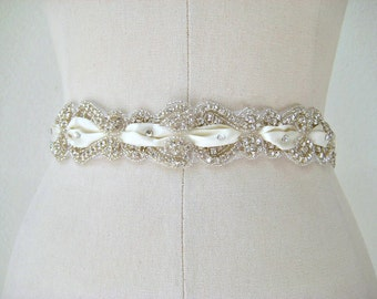 Bridal beaded scroll rhinestone sash. Swarovski crystal laced ribbon wedding belt. CRYSTAL SCROLL
