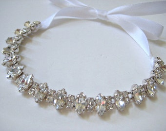 Bridal marquise Czechoslovakia crystal jewel bracelet.  Rhinestone luxury wedding bracelet.   MARQUISE PRINCESS