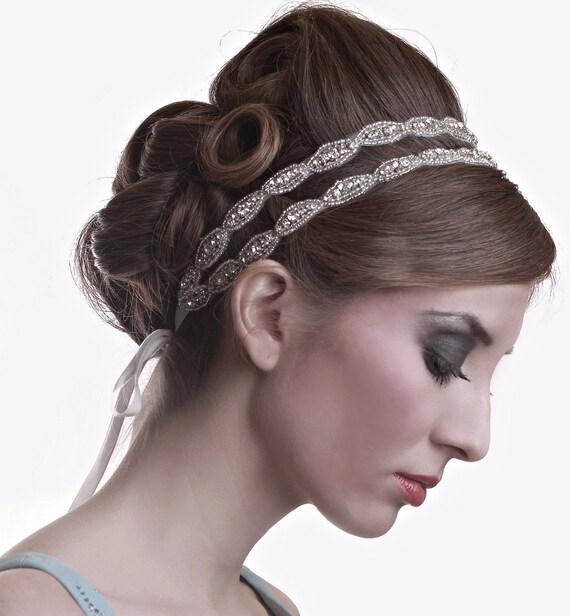 Headbands For Wedding Hairstyle: Bridal Beaded Crystal Rhinestone Double Oval Wedding Headband