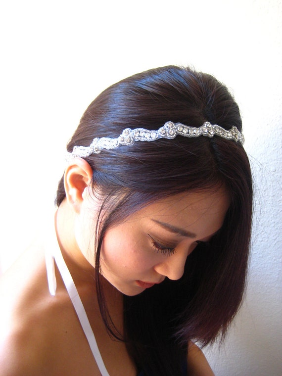 Bridal beaded Czechoslovakia crystal headband.  Rhinestone wedding headpiece.  EUGENIA.