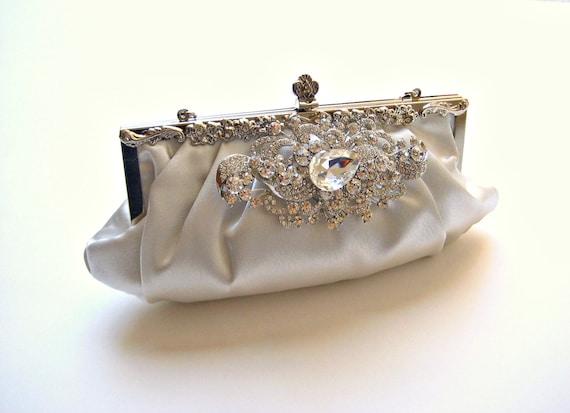 Bridal Swarovski Crystal Jewel Clutch.  Satin Evening Wedding Purse.  SPLENDOR