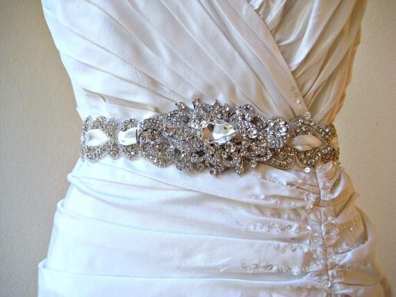Bridal wedding beaded crystal sash/belt with swarovski crystal jewel brooch. ROMANTIC SPLENDOR