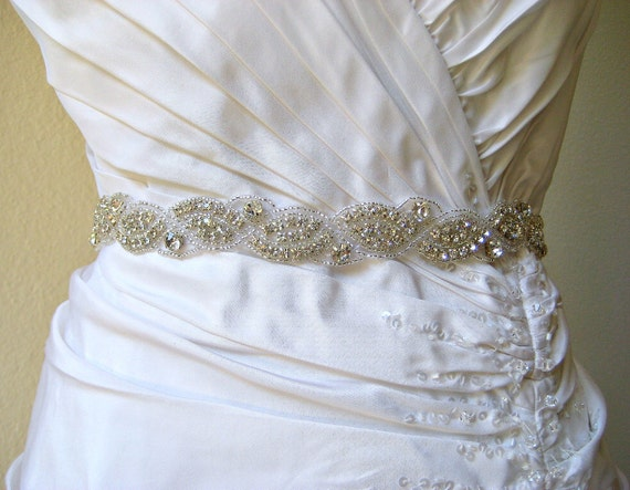 Sale 20% off.  Bridal sparkly beaded crystal rhinestone wedding sash/belt.  CRYSTAL WAVES
