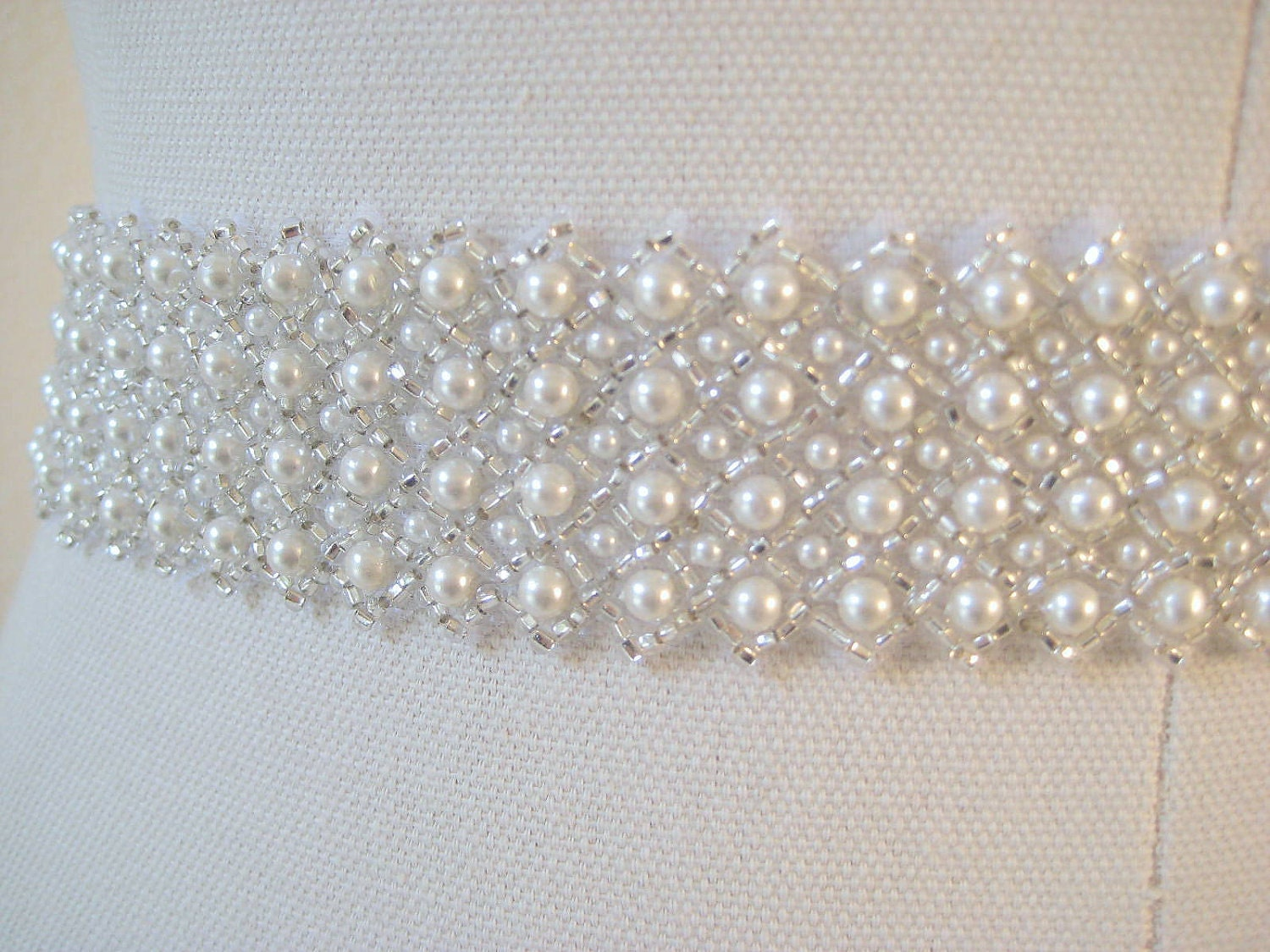 Bridal Pearl Sash Czechoslovakia Ivory Pearl Wedding Belt