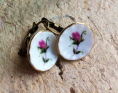 Vintage Porcelain Rose Earrings