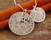 Hand Stamped Mommy Necklace - Sterling Silver Personalized Jewelry - To the moon and back
