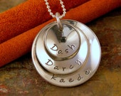 Personalized Hand Stamped Necklace, Sterling Silver - Triple Family Cup Necklace