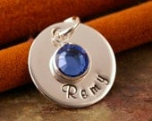 One Name Small Flat Tag Charm - Sterling Silver Hand Stamped Round Disc with Swarovski Crystal Birthstone