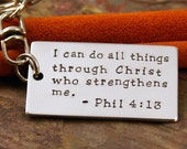 Personalized Key Chain - Aluminum dog tag Hand Stamped Keychain - Your favorite phrase or bible verse