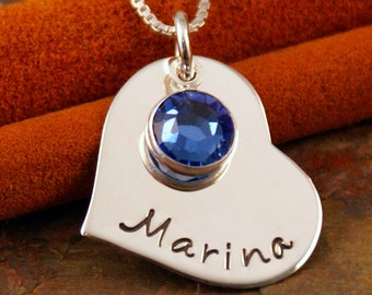 Hand Stamped Mommy Necklace - Personalized Jewelry - Sterling Necklace with Birthstone - My heart (Medium Heart)