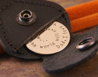 Key Chain with Leather Case - Hand Stamped Personalized Token - your favorite phrase (double stamped optional)