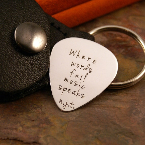Guitar Pick key chain with leather case - Hand Stamped Personalized Sterling Silver - Your personal message