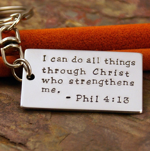 Personalized Key Chain - Dog tag Hand Stamped Keychain - Your favorite phrase or bible verse