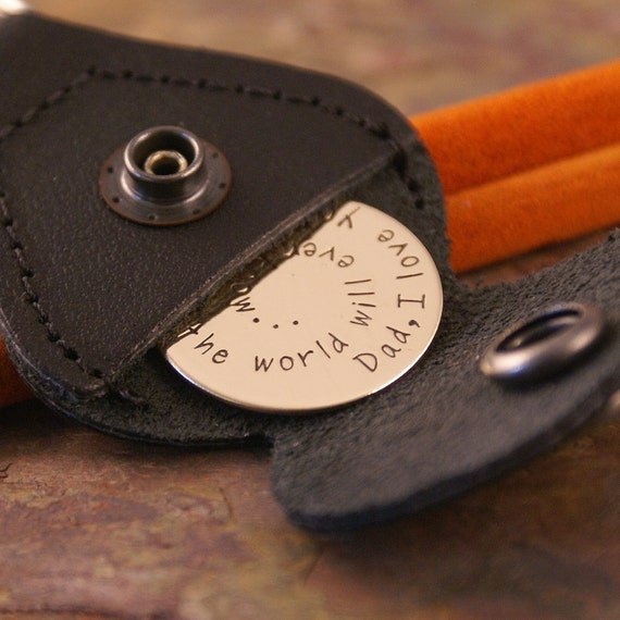 Key Chain with Leather Case - Hand Stamped Personalized Bronze Token - Daddy, I love you more than.... (double stamped)