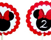 Minnie Mouse Cupcake Toppers in Red