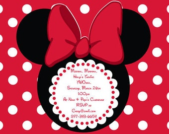 Minnie Mouse Birthday Invitation in Red