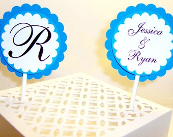 Personalized Wedding Cupcake Toppers
