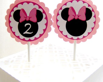 Minnie Mouse Cupcake Toppers in Pink