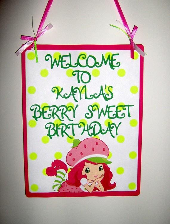 Strawberry Shortcake Die Cut Door Sign