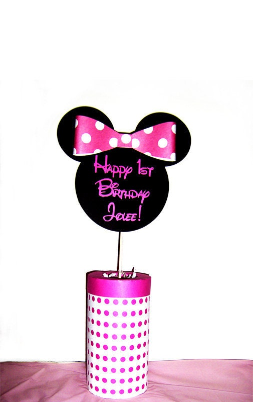 Minnie mouse centerpiece by silverorchidgraphics on etsy