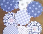 Circulos con ondas precortados motivos azules