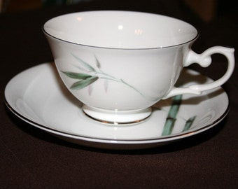 China Cup and Saucer in Bamboo Mandarin by Yamaka of Japan Trimmed in Platinum