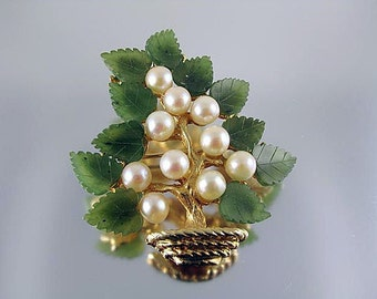 Swoboda Pearl and Jade Bonsai Tree Brooch on Vermeil