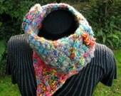 CHRISTMAS SALE - 20% off - Electro Pixie Cowl wool  - graffiti crochet - snood neckwarmer hand dyed handspun yarn one of a kind