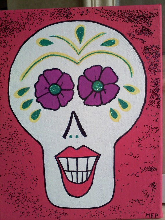 LADY Sugar SKULL: funky, fun, sparkly, not-just-for-Halloween,  handpainted 8x10 canvas