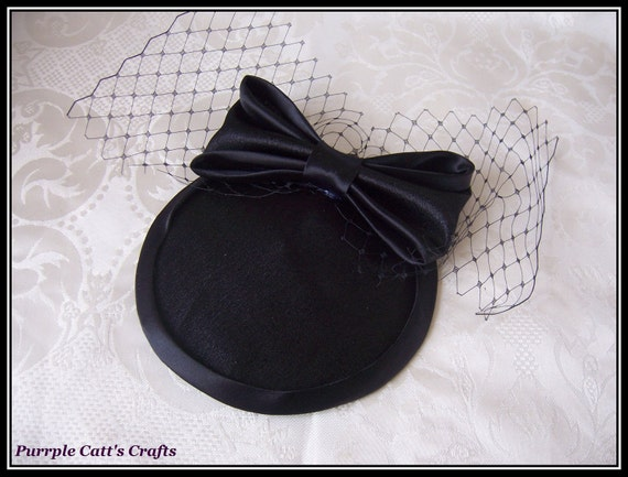 Satin Rockabilly, Burlesque, 50's Fascinator Hat, edges available in black, purple, red and white
