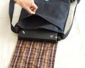 backpack, laptop bag, men, women, school, large,  Blue canvas, plaid cotton, gift, christmas sale, unisex, brown, OOAK