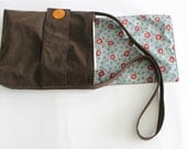 handbag diaper bag medium messenger laptop bag Brown faux leather orange, red flower, cotton lining, button, OOAK, women, gift, evening