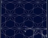 Poinsettia 210 -Navy Sashiko Sampler with Thread