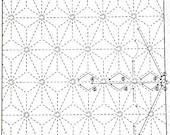 Hemp Leaf 6 -White Sashiko Sampler with Thread