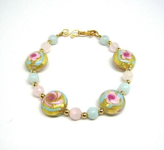 Venetian Gold Foil Beads, Amazonite, and Rose Quartz Beaded Bracelet