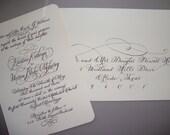 Calligraphy Invitation Custom and Hand Written -- The Savannah Font