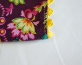 Cloth Dinner Napkins, Reversible,  Yellow and Plum, Yellow Trim. Set of 4.