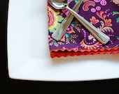 Cloth Dinner Napkins, Reversible, Yellow and Plum, Orange Trim. Set of 4