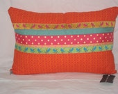 Orange/Ribbon Pillow Cover 12x18