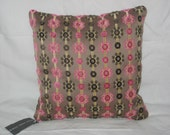 Pink and Brown Velvet Pillow Cover 14x14