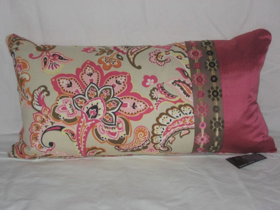 Jacobean Floral Pillow Cover Rectangle 14x26