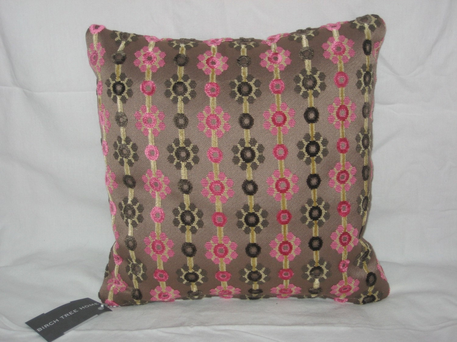 pink and brown velvet pillow cover 14x14. Black Bedroom Furniture Sets. Home Design Ideas