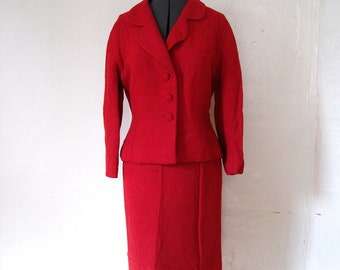 RARE Couture 60s SYBIL CONNOLLY Hand Woven Red Wool Suit