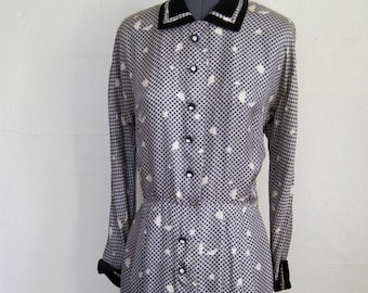 1940s Dress / Novelty Print Rayon and Velvet Black and White Graphic ABSTRACT Checked Dress